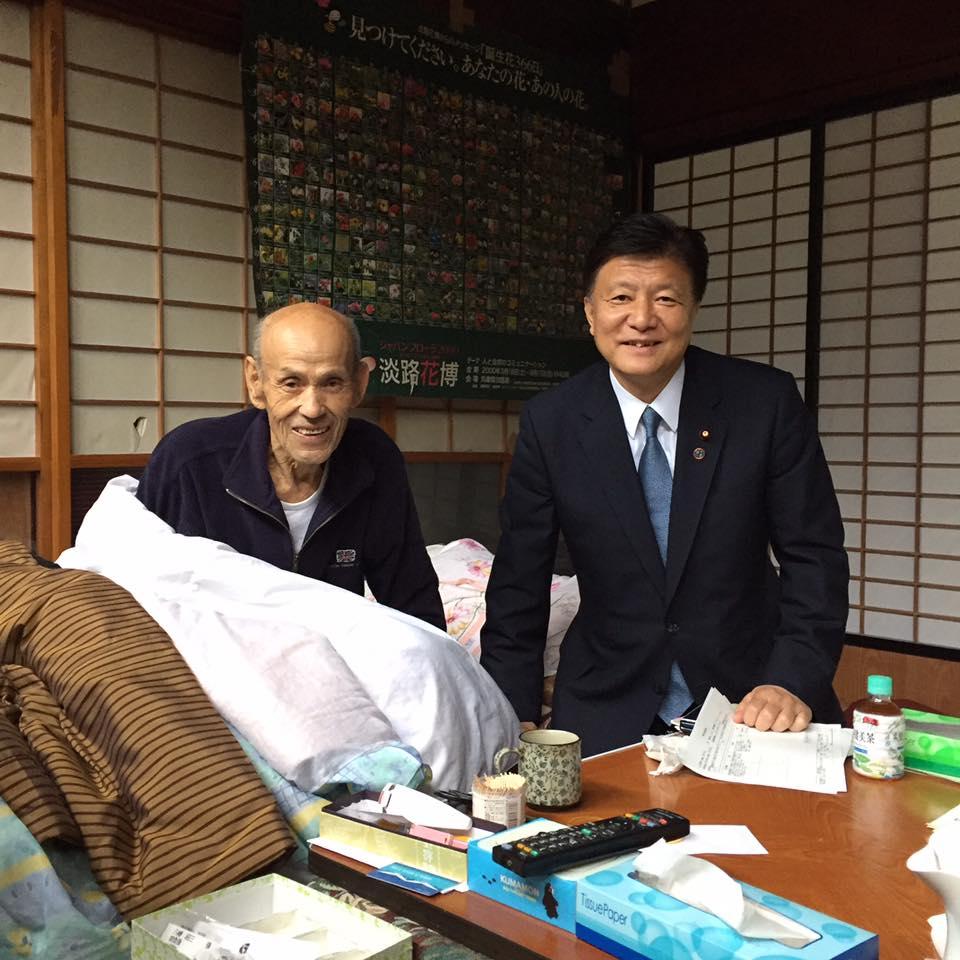 竹島絵図面を説明してくれた八幡昭三さんを見舞う。