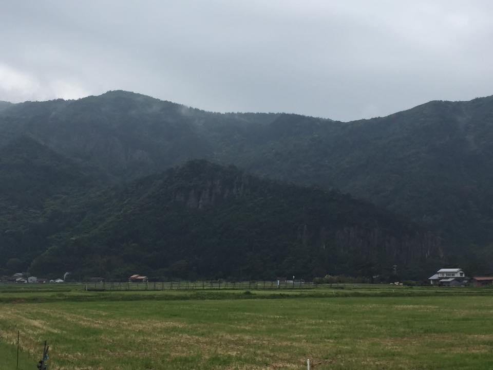 島の内・外に地層の衝突で隆起した崖が。大雨の時は、自然の滝が幾筋も出現するという。